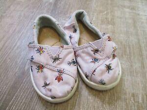 Toddler Size 5 Toms Shoes light pink bug print girls