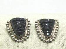 """Brooches, Mexico, 7/8"""", 7.93gr. Vintage Sterling Obsidian Mask"""