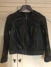 Muubaa Black Perforated Leather Jacket Bomber Uk 8 Small