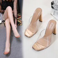 Womens High Block Heel Wedge Sandals Transparent Perspex Mules Open Toe Shoes
