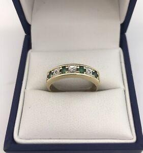Nice 9ct Gold, Emerald & Diamond 7 Stone Ring. Size N.