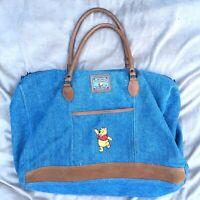 Vintage Tote Disney Winnie The Pooh Bear Large Blue Jean Denim Beach Bag