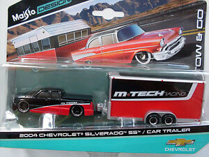 2004 Chevrolet Silverado SS + Car Trailer, Maisto Tow & Go 1:64