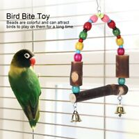 Wooden Bird Cage Stand Perch Parrot Hanging Swing Colorful Beads Bell Arch Toy