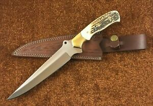 Custom Handmade High Carbon Steel Hunting Knife With Stag Handle