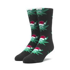 Huf Skateboard Socks Green Buddy Santa Black