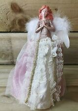Rose Pink & Gold Christmas Tree Top Angel 28cm White Feather Wings