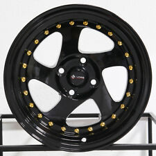 "4-New 15"" Vors VR2 Wheels 15x8 4x100 20 Black Rims"