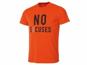 Men's Fitness Workout Shirt T-Shirt Orange No. Excuses Functional Polyester
