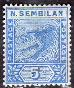 NEGRI SEMBILAN MALAYA 1891/4 STAMP Sc. # 4 MH TIGER