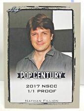 Nathan Fillion 2017 Leaf Pop Century Silver Border Blank Back NSCC Proof #'d 1/1