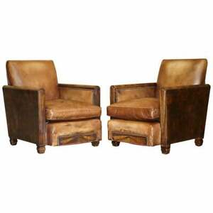 ANTIQUE PAIR OF METROPOLITAN ART DECO 1920 HAND DYED BROWN LEATHER ARMCHAIRS