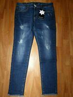 Neue M.SARA Damen Jeans Hose Gr.W32/L32 Strech Hüft Röhrenjeans Blau Destroyed