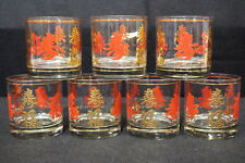 7pc Vintage Mid-Century Red/Gold CHINESE Character Writing SCOTCH Rocks Glasses