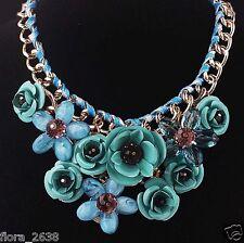 SUBLIME Collier métal doré, cristal, fleurs bleu, vert, noir, bijoux fantaisie