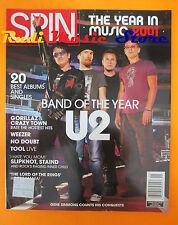 rivista SPIN Gennaio 2002 U2 Gorillaz & Crazy Town Slipknot Weezer Staind No cd
