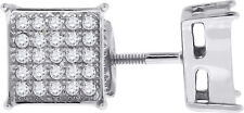 14K White Gold Finish Men Women 925 Silver Cubic Square Screw Backs Stud Earring