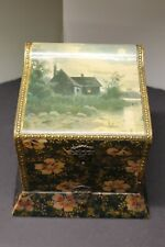 Antique Floral Celluloid Highly Decorated Ladies Collar box -Very Nice