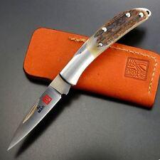 """Al Mar Osprey Small Folding Pocket Knife 1.65"""" AUS8 Steel Blade Stag Handle"""