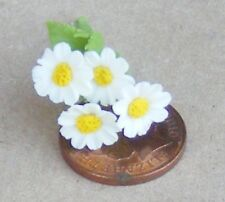 1:12 Scale 4 White Polymer Clay Daisies Tumdee Dolls House Flower Accessory D2