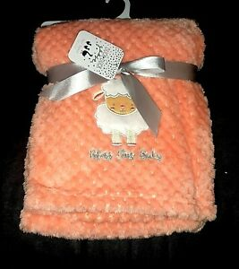 """New!! Baby Girls Peach """"DUCK DUCK GOOSE"""" """"Bless this Baby"""" BLANKET sz 30"""" x 40"""""""