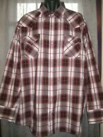 Ely Cattleman Mens Button Up Western Shirt Red Plaid Pearl Snaps Tall 3 XLT