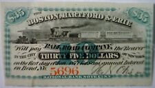 1867 CONFEDERATE Civil War Era $35 Boston Hartford & Erie RAILROAD Interest Note