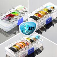 Fishing Lures Kit Treble Hooks Crankbait Tackle Bass Minnow Baits + Fishing Box
