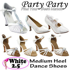 "WHITE Women Dance Shoes~ 2.5"" Heel Ballroom Latin Salsa Swing Wedding Bridal -II"