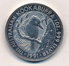 Australia Elizabeth II 5 dollars a 1 onza Oz 999er plata Kookaburra 1991 #60