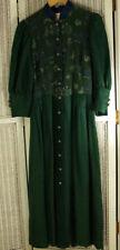 """HAMMERSCHMID Dirndl Tracht Dress EU36 / S 36"""" Bust Green Linen Barnyard Animals"""