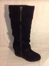 ASH Black Knee High Suede Boots Size 40