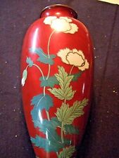 "VASE cloisonne enamel 15x7"" red ground, silver wire, wide wire, flowers,  c 1900"