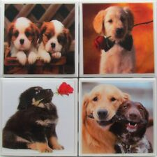 Handmade Natural Stone Ceramic Tile Marble Drink Coasters - Set of 4 - Dogs 4 A
