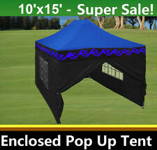 10'x15' Enclosed Pop Up Canopy Party Folding Tent - Blue Flame - E Model