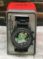 Nintendo Super Mario Bros Men's Watch Luigi 8 Bit Black Rubber Band Wrist NWT