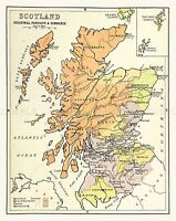 MAP REPRO ANTIQUE SCOTLAND SCOTTISH INDUSTRY COMMERCE LARGE ART PRINT LF909