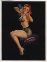 Vintage '40s Jules Erbit Pin-Up Print Lingerie-Clad Redhead Setting Up Exercises