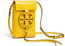 NWT $198 TORY BURCH Miller Cowhide Leather Mini iPhone Pouch BAG Yellow