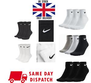 Nike Socks Mens Women Junior White Black Grey 2-5 5-8 8-12 XL Ankle Crew