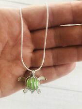 """Pearl Cage Turtle Pendant Silver Plated Snake Chain 18"""" Aromatherapy"""