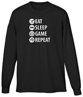 Eat Sleep Game Repeat Video Gamer Nerd Geek Console Player Mens LS Tee