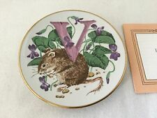 "Animal Alphabet Miniature Plate V Is For Vole-3 1/4""-Franklin Mint. #2713"