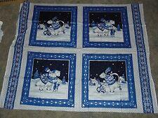 Skating Polar Bears Winter Fabric Panel Metalic  Concord Fabrics The Kesslers
