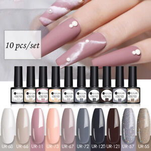 UR SUGAR 10Colour Nail Gel Polish Set Soak off UV LED Base Top Coat Nail Varnish
