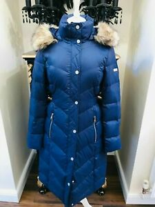 NEW KARL LAGERFELD BLUE QUILTED JACKET WITH FAUX FUR HOOD R.R.P. £360.00