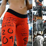 Women Yoga Pants Leggings Letter Print Push Up Sports Gym Fitness Comfy Trousers