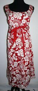 Ann Taylor Empire Waist Tie Front Dress Womans Sz 12 Below Knee Red White Floral
