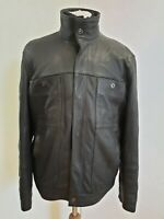 E178 MENS M&S 8577 887 BLACK LEATHER ZIP UP COAT JACKET UK S EU 46