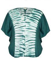 Lovely Loose Fitting Tie Die Green Top, Batwing Sleeves Sizes 24 (Free Post)